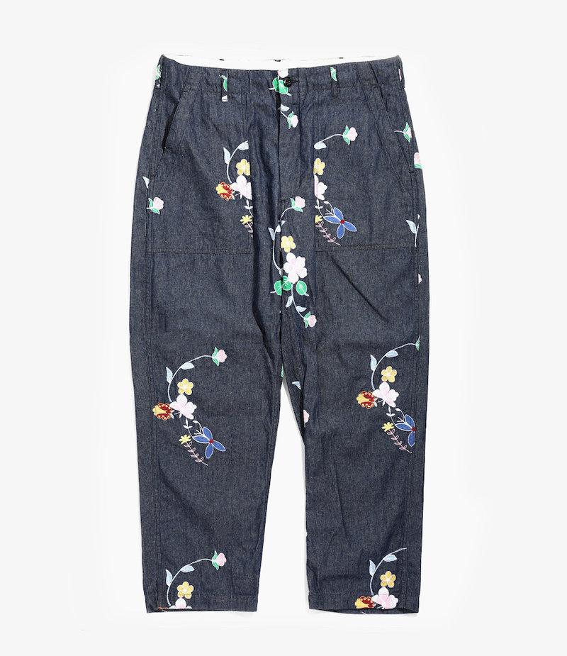 Engineered Garments Fatigue Pant - Indigo Denim Floral Embroidery