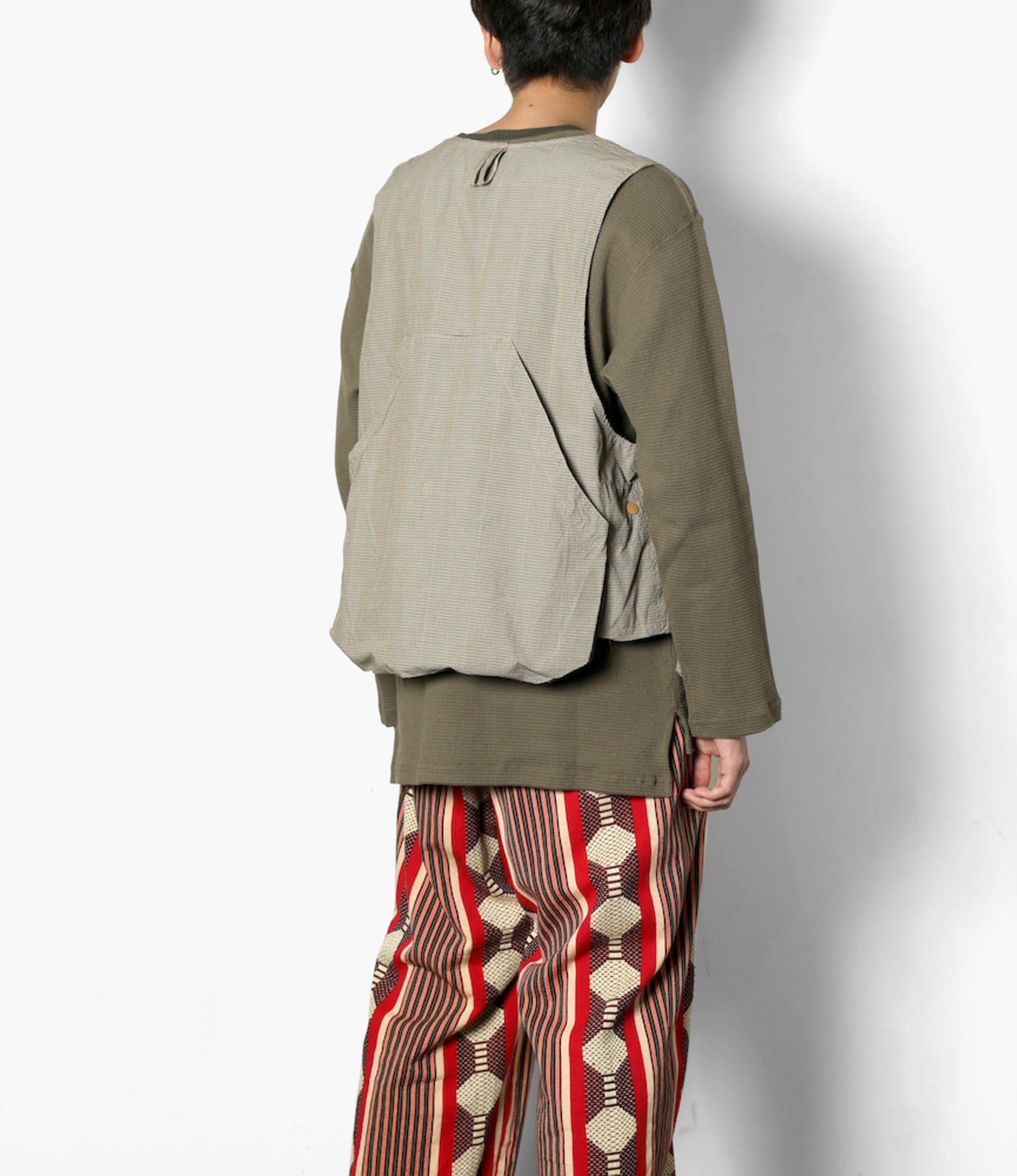 Engineered Garments Game Vest - Khaki Nyco Mini Tattersall