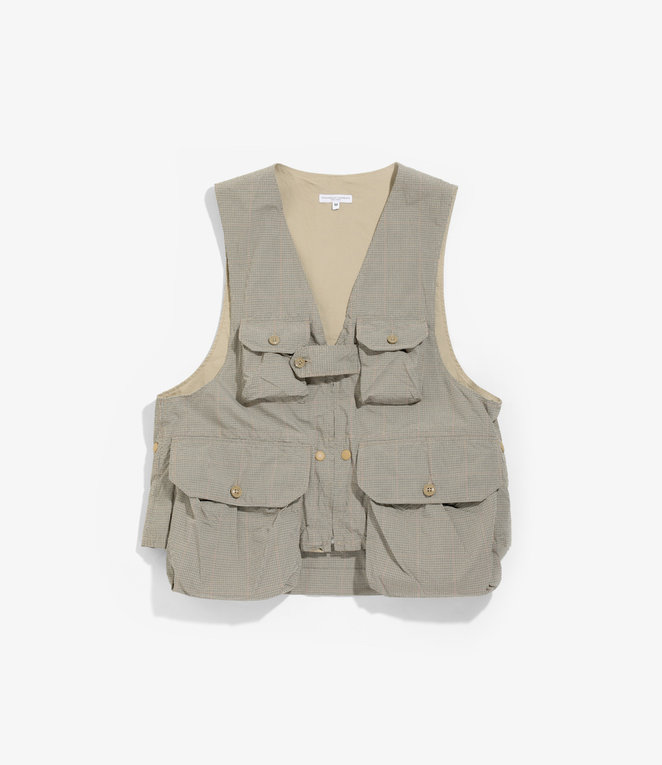 Engineered Garments Game Vest - Khaki Nyco Mini Tattersall