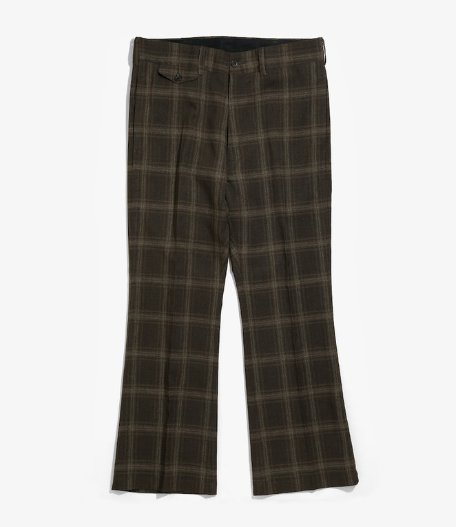Needles Flap Pocket Boot-Cut Trouser - Tropical Poly Cloth - Brown/Plaid