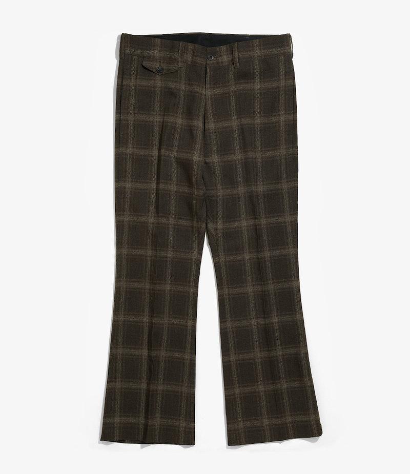Needles Flap Pocket Boot-Cut Trouser - Tropical Poly Cloth - Brown/Plaid