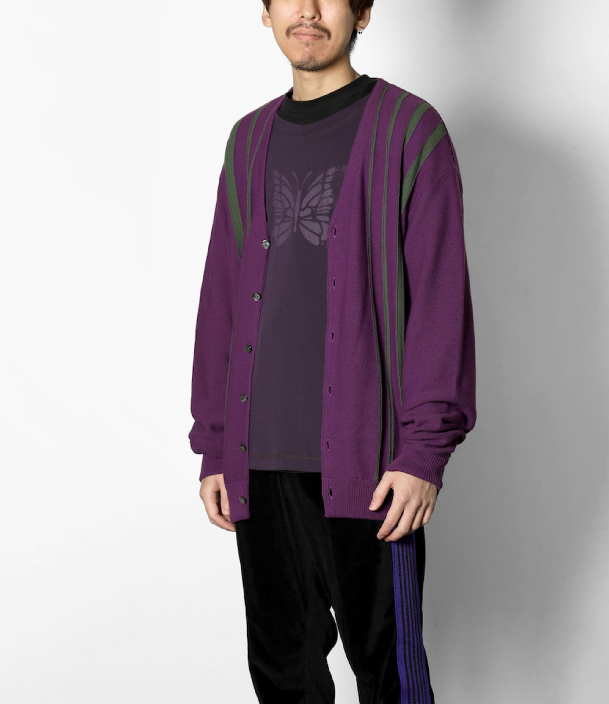 Needles V Neck Cardigan - Crepe Stitch / Stripe - Purple
