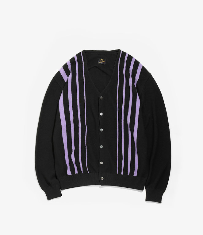 Needles V Neck Cardigan - Crepe Stitch / Stripe - Black