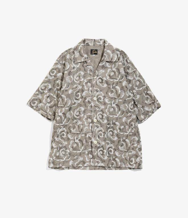 Needles Cabana Shirt - Cotton Cloth / Rose Emb - Grey