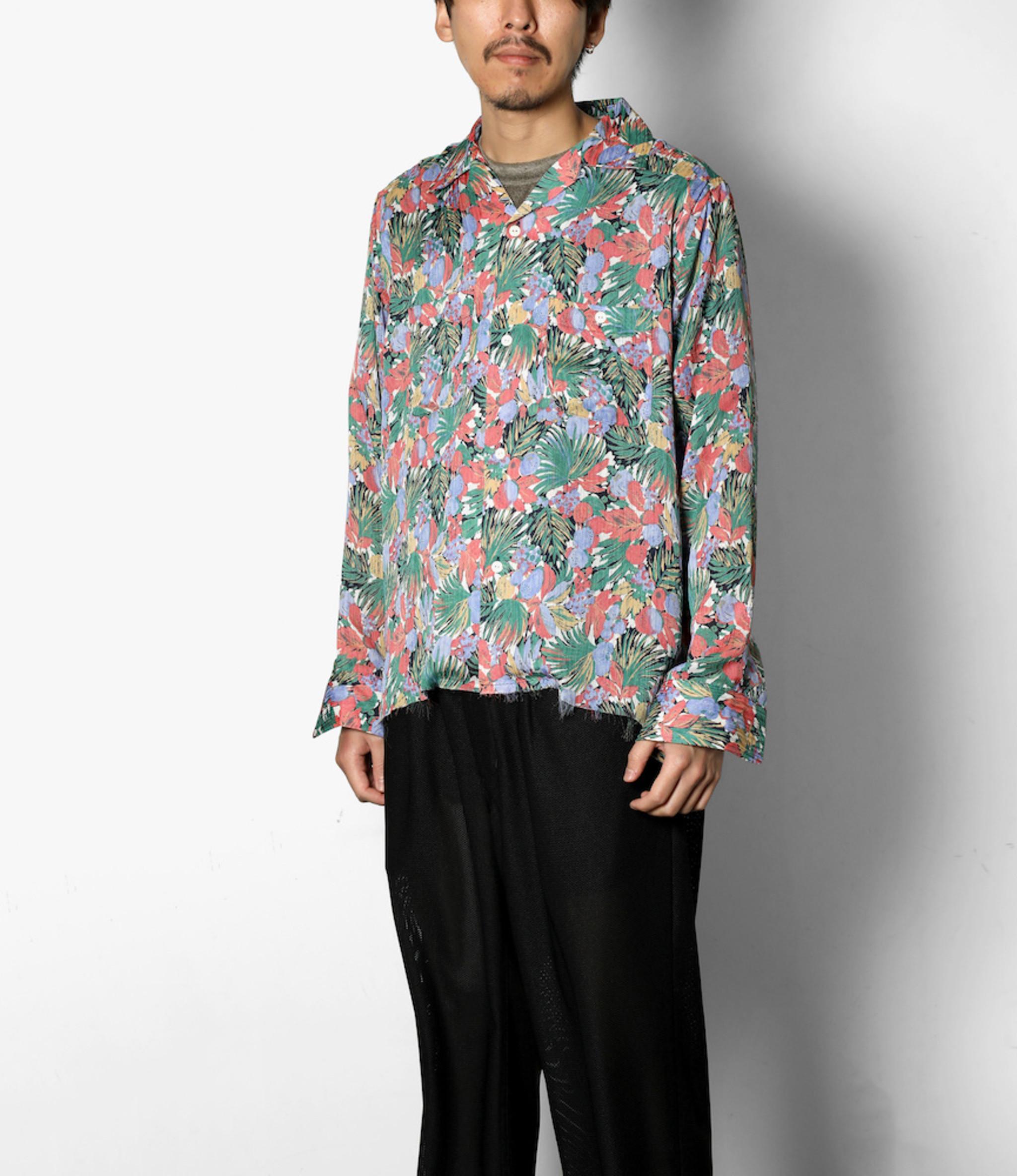 Needles Cut-Off Bottom One-Up Shirt - Double Crepe / Floret Pt. - Navy/Pink