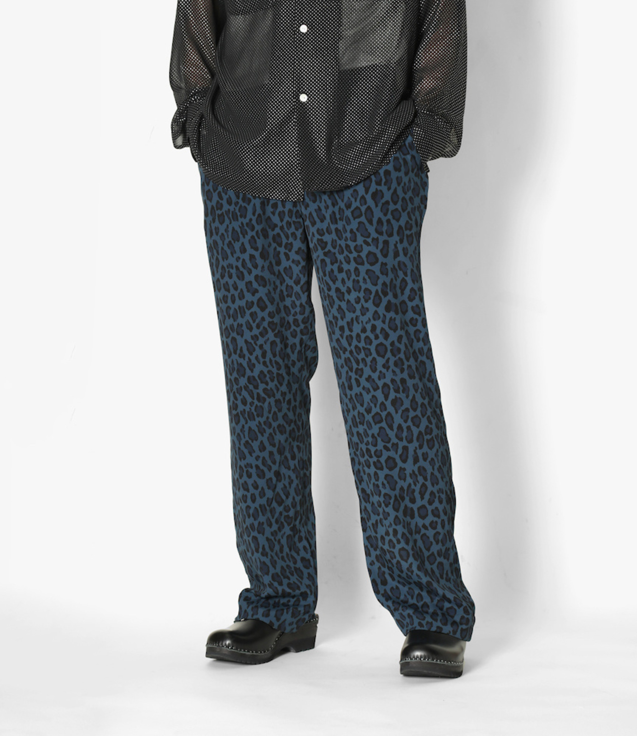 Needles String Cowboy Pant - Rayon Cloth / Leopard Print - Blue