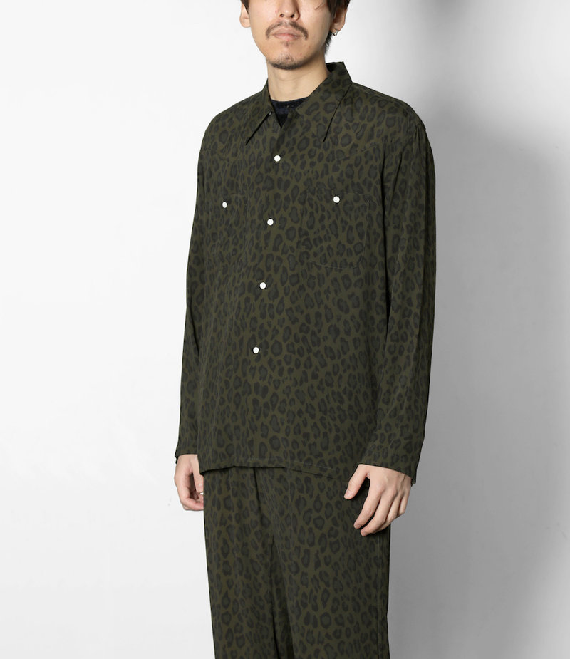 Needles One-up Cowboy Shirt - Rayon Cloth / Leopard Print - Olive