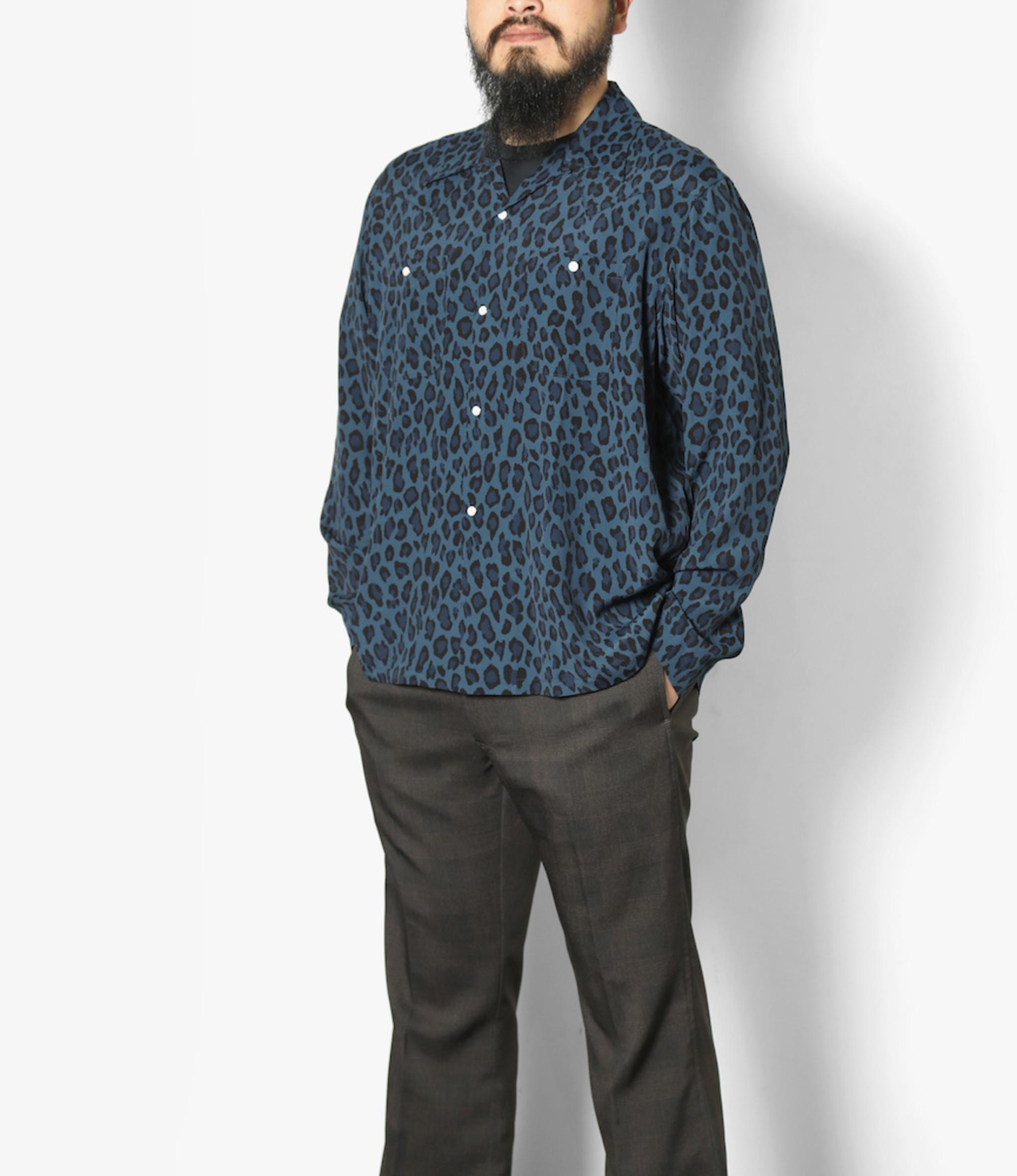 Needles One-up Cowboy Shirt - Rayon Cloth / Leopard Print - Blue