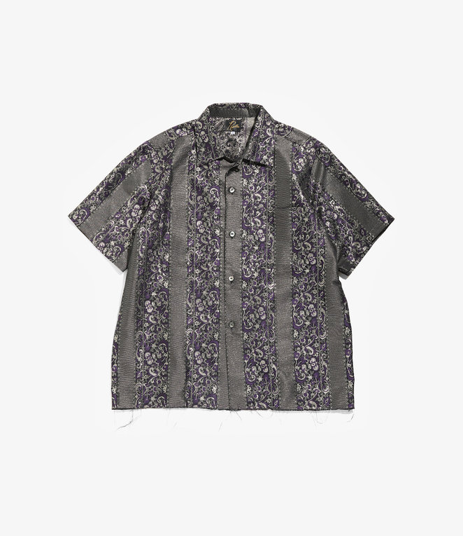 Needles Cut-Off S/S One-Up Shirt - Pe/Cu Jacquard / Bright Stripe - Purple