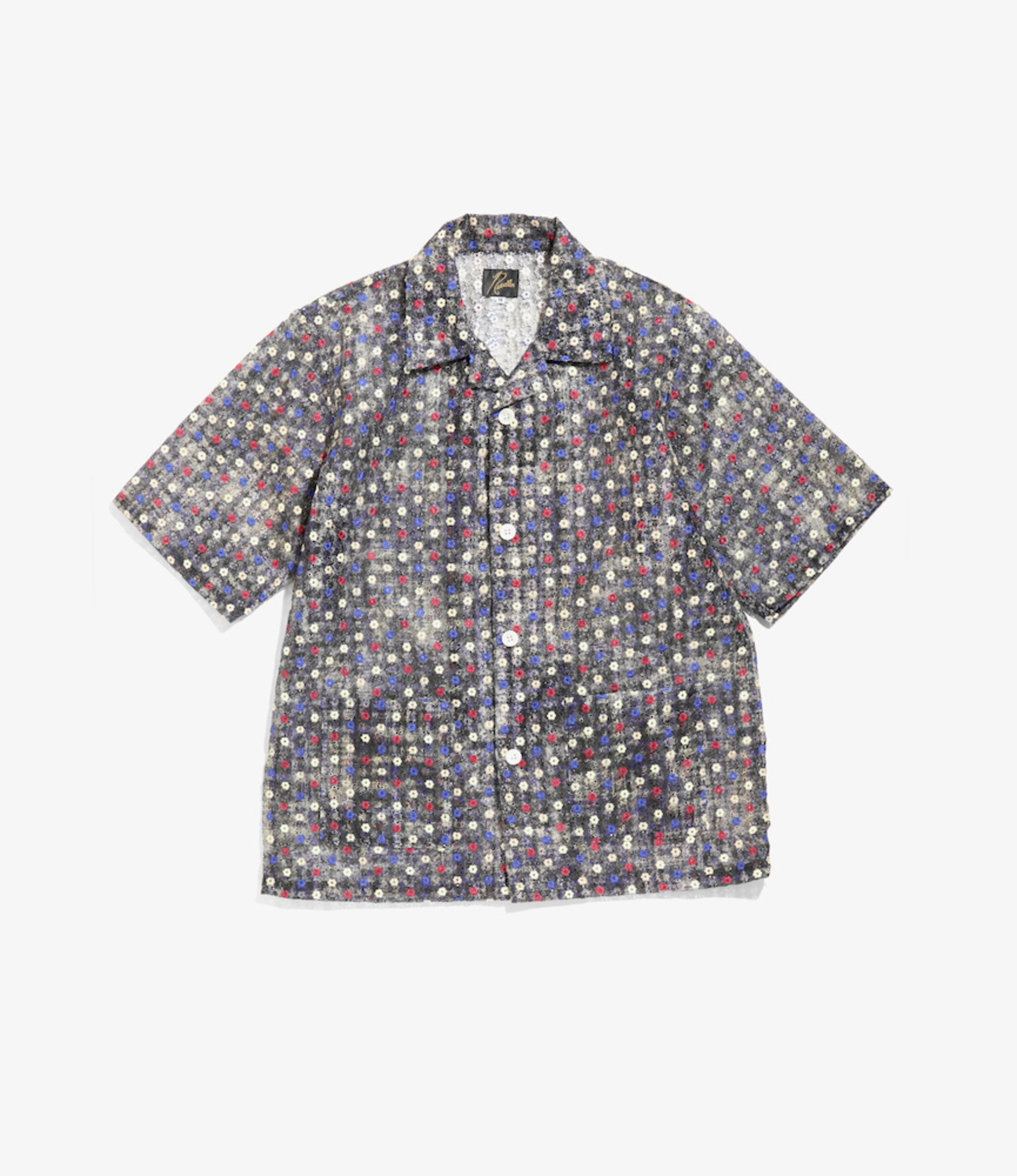 Needles Cabana Shirt - Poly Organdy Cloth / Floret Emb - Black