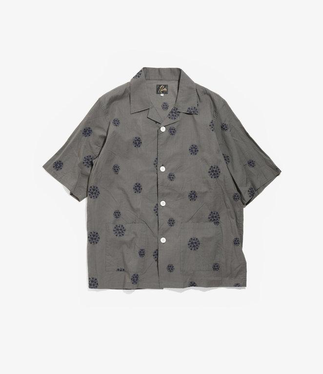 Needles Cabana Shirt - Cotton Cloth / Flower Dot Emb. - Grey