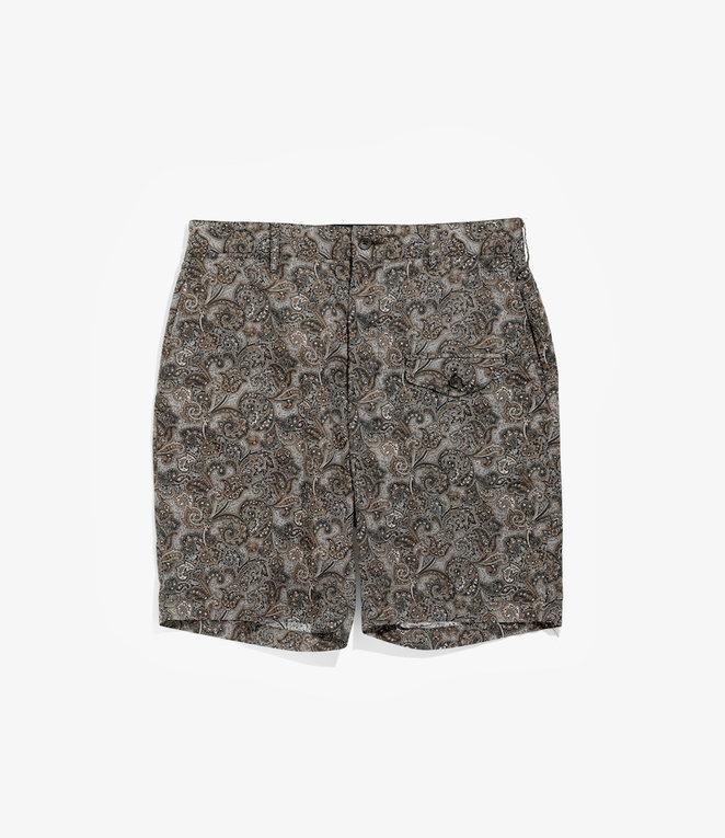 Engineered Garments Ghurka Short - Black/Brown Cotton Paisley Print