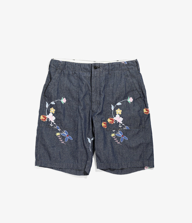 Engineered Garments Fatigue Short - Indigo Denim Floral Embroidery