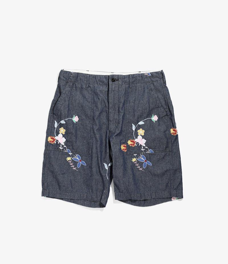 Engineered Garments Fatigue Short - Indigo Denim Floral Embroidery
