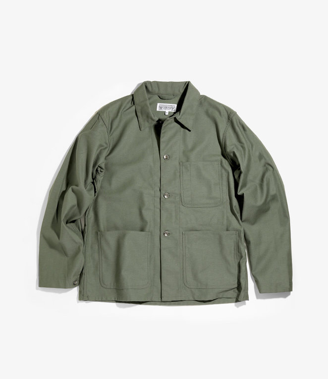 Workaday by Engineered Garments Utility Jacket - Olive Cotton Reversed Sateen
