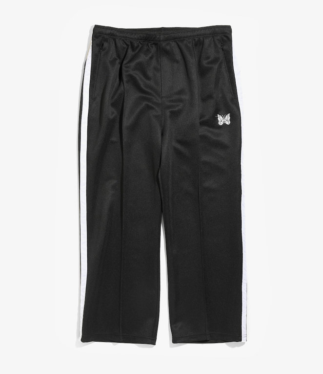 Needles Side Line Center Seam Pant - Bright Poly Jersey - Black/White