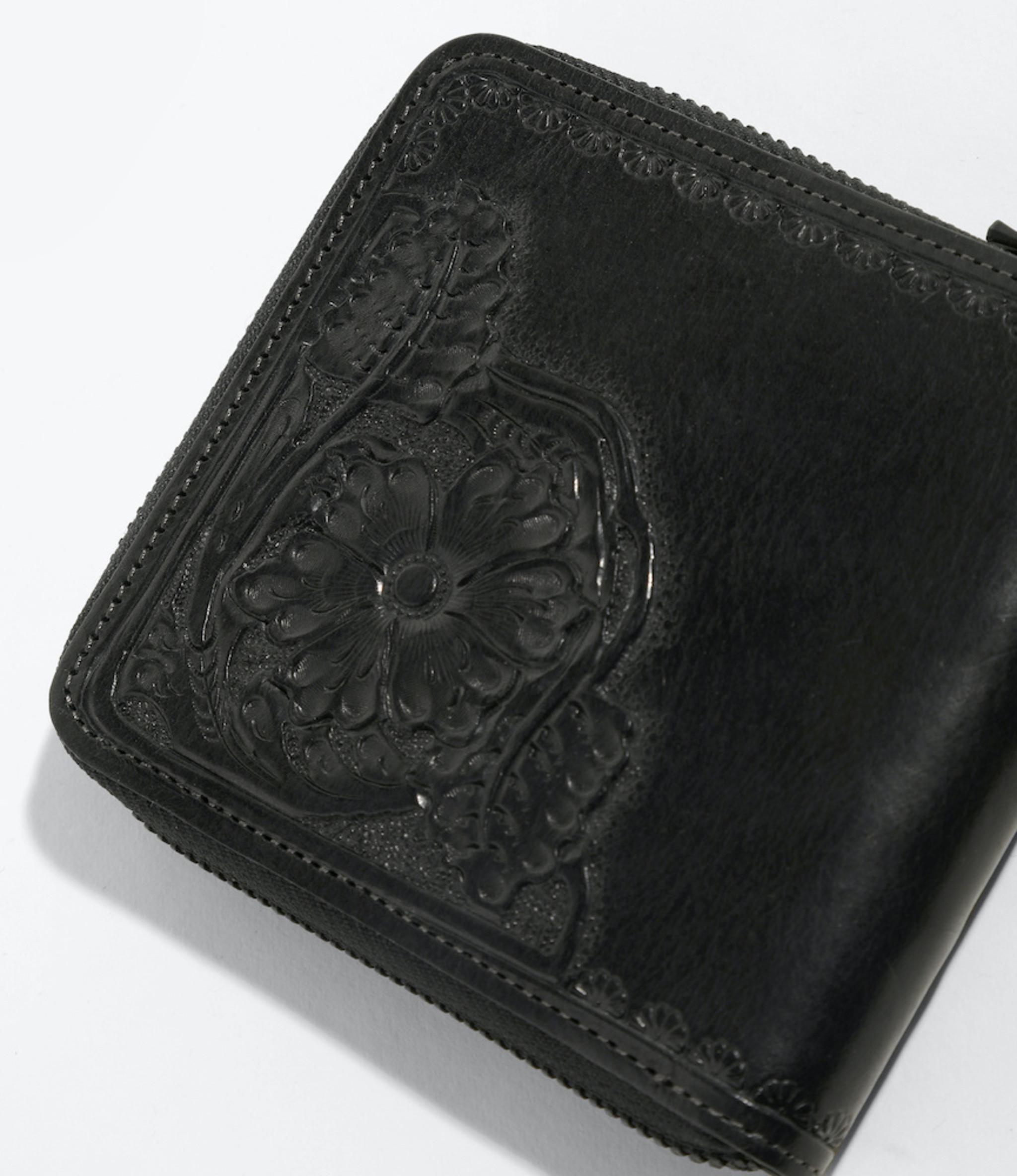 Needles Carving Sigle Wallet - Black