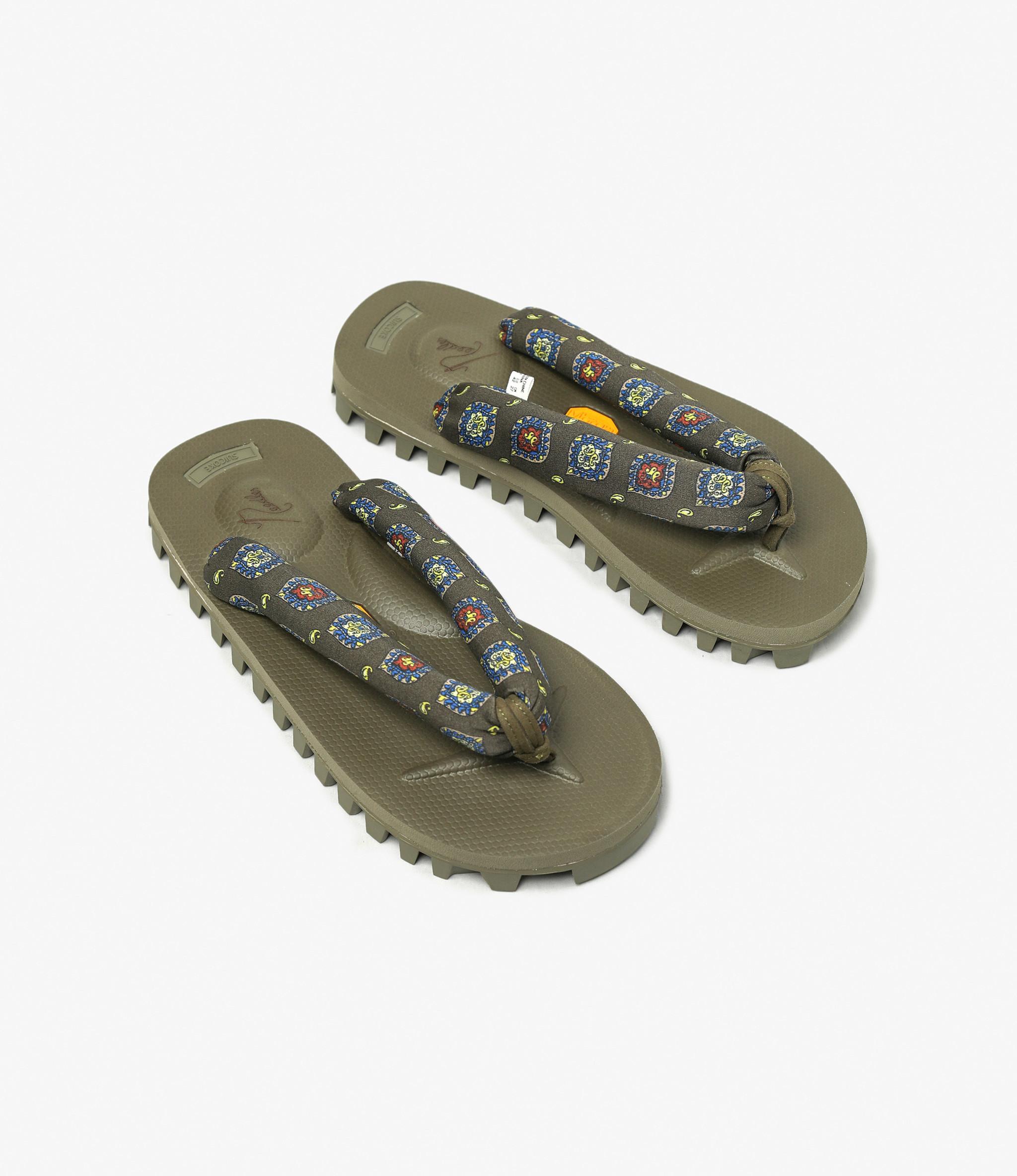 Suicoke Suicoke x Needles  - Thong Sandal Vibram Sole - Olive Fine Ptn / Olive