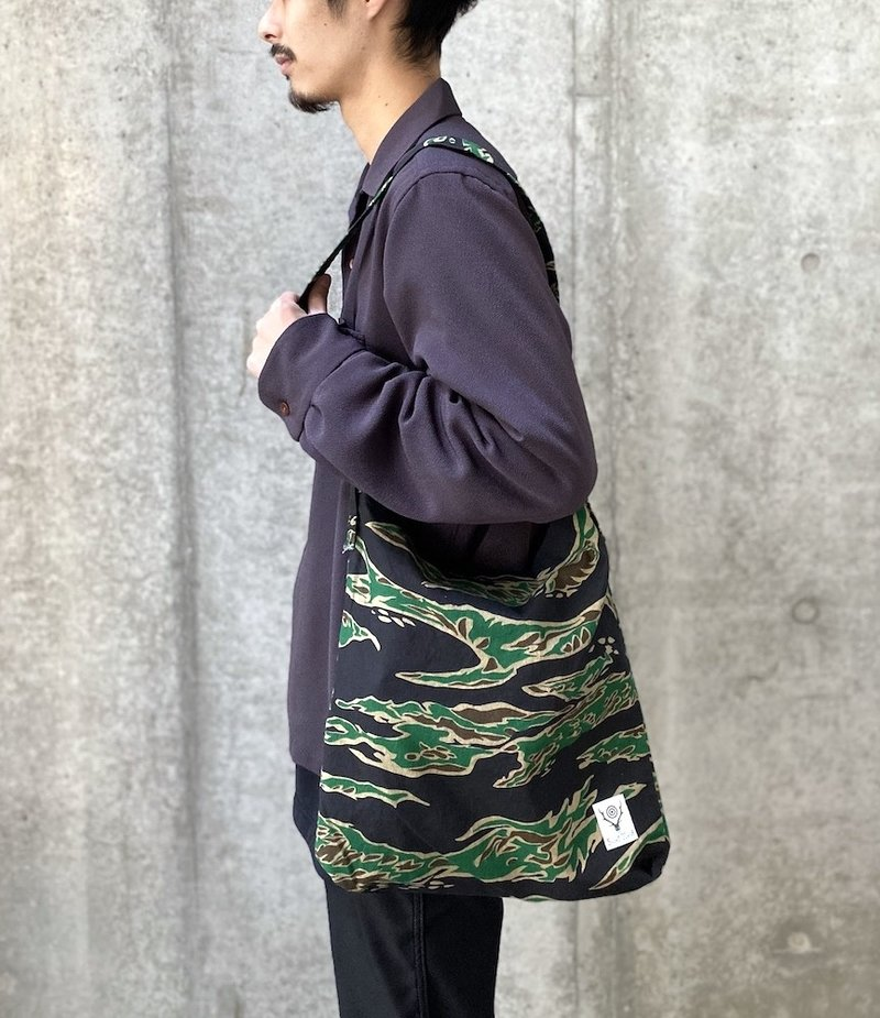 South2 West8 Book Bag - Printed Flannel / Camouflage - Tiger Camo