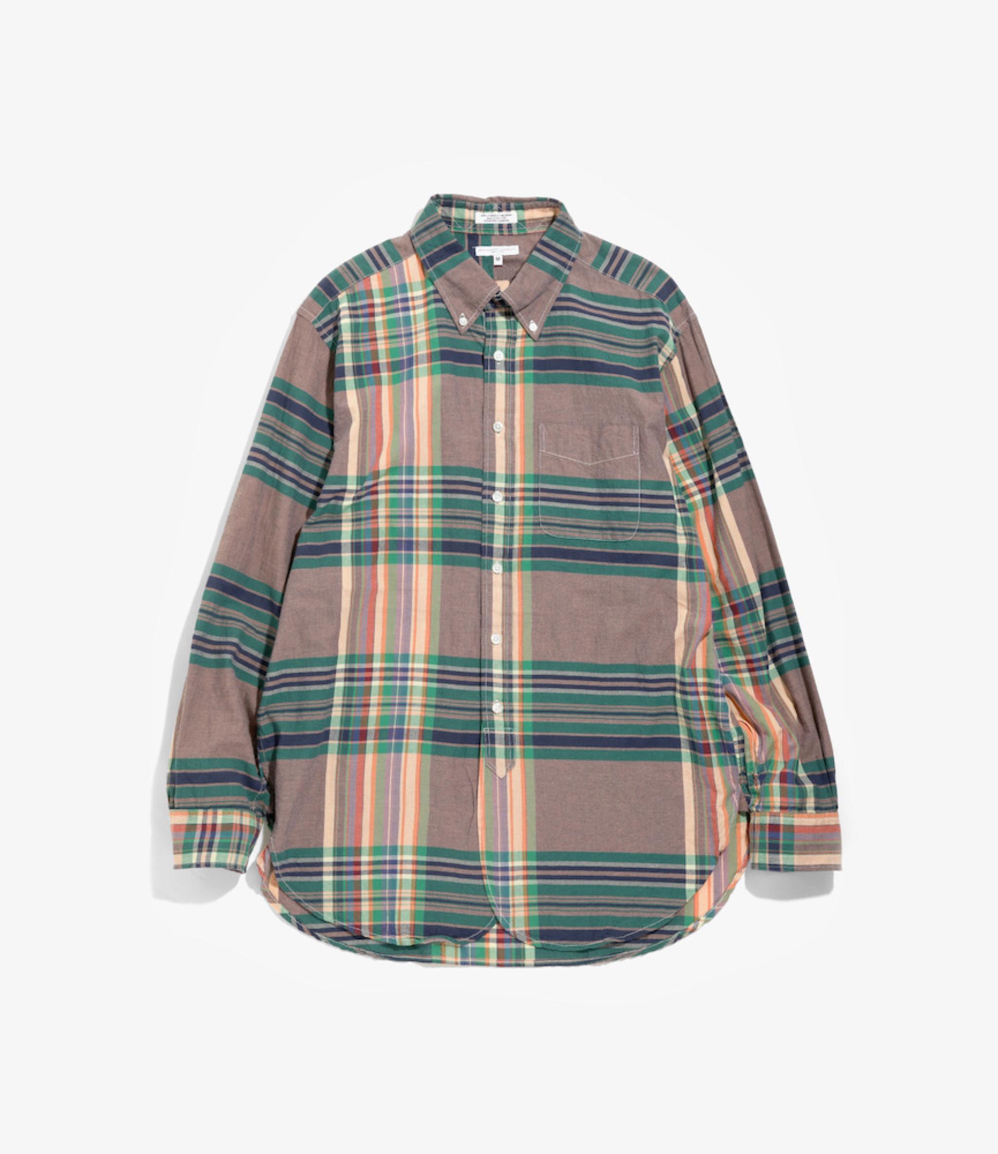 Engineered Garments 19 Century BD Shirt - Orange/Grn/Nvy Big Madras Plaid