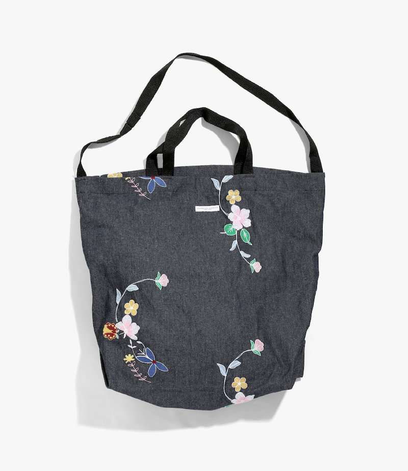 Engineered Garments Carry All Tote - Indigo Denim Floral Embroidery