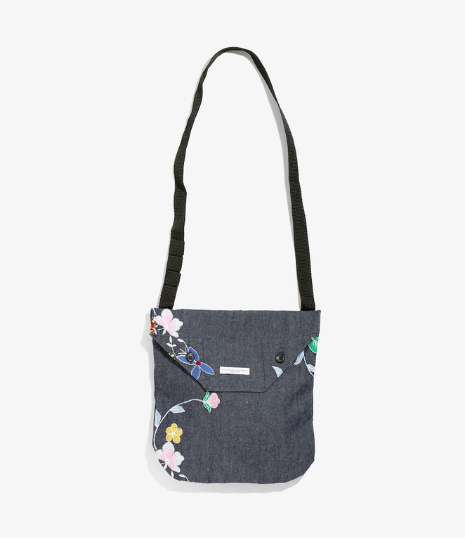 Engineered Garments Shoulder Pouch - Indigo Denim Floral Embroidery