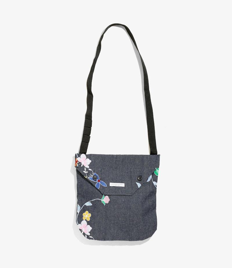 Engineered Garments Shoulder Pouch - Indigo Denim Floral Embroidery