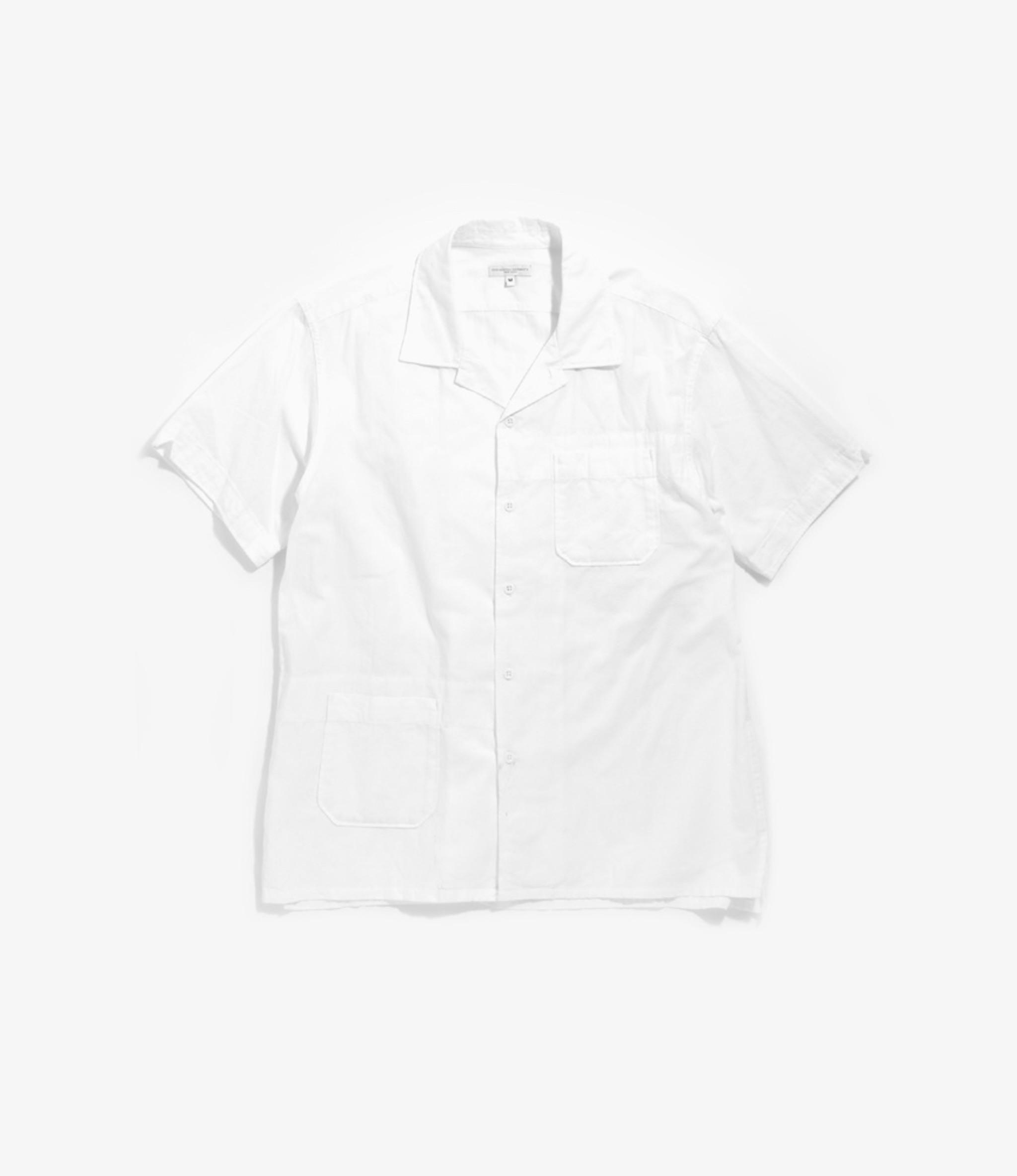 Engineered Garments Camp Shirt - White Cotton Dobby Stripe