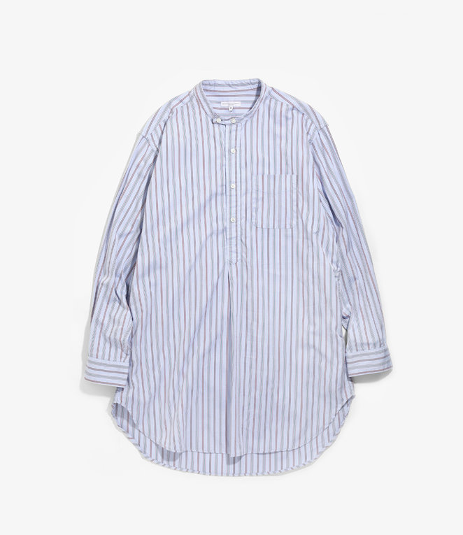 Engineered Garments Banded Collar Long Shirt - Blue Multi Color Tailor Stripe