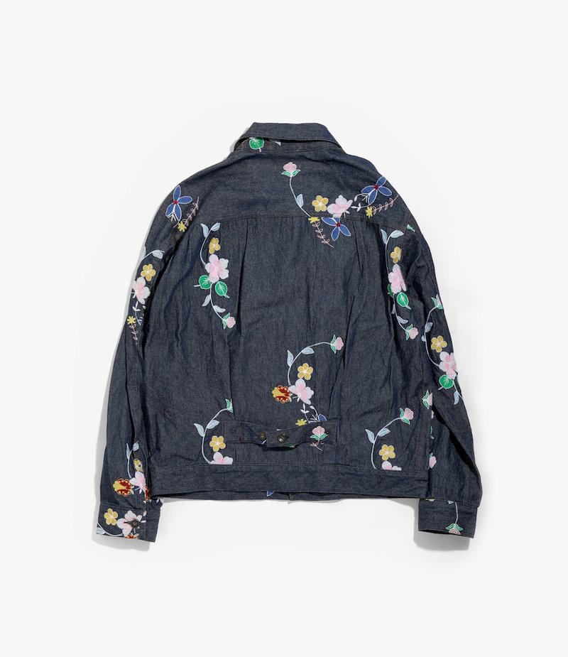 Engineered Garments Trucker Jacket - Indigo Denim Floral Embroidery