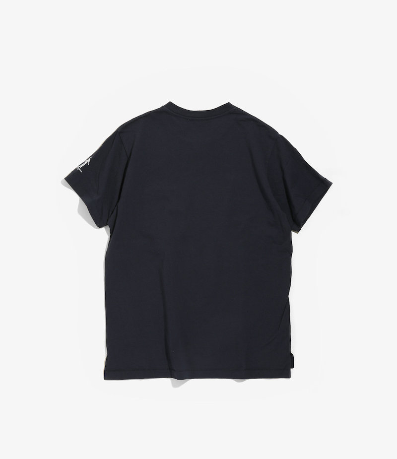 Engineered Garments Printed Cross Crew Neck T-shirt - Navy - Music