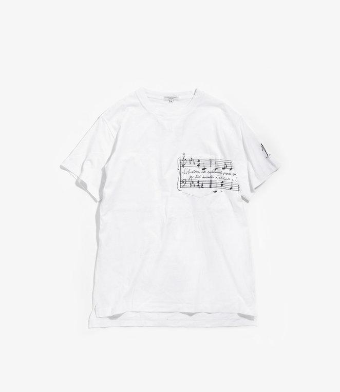 Engineered Garments Printed Cross Crew Neck T-shirt - White - Music