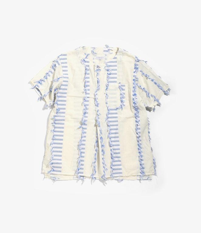 Engineered Garments MED Shirt - Natural/Blue Dobby Tassel