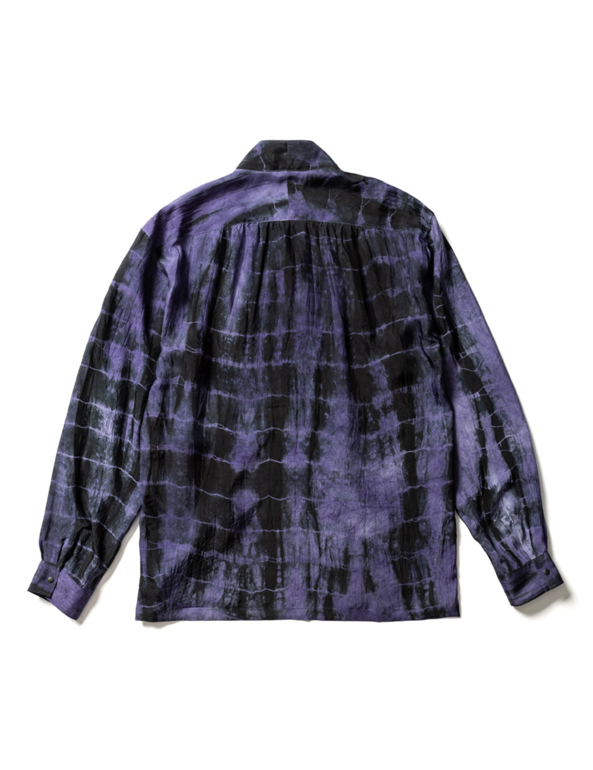 Sasquatchfabrix. ORIENTAL TIE DYE WA-NECK L/S SHIRT - BLACK PATTERN