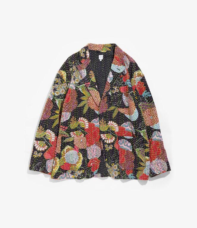 Studio Jacket - Black Multi Ethnic Hand Stitched Cotton