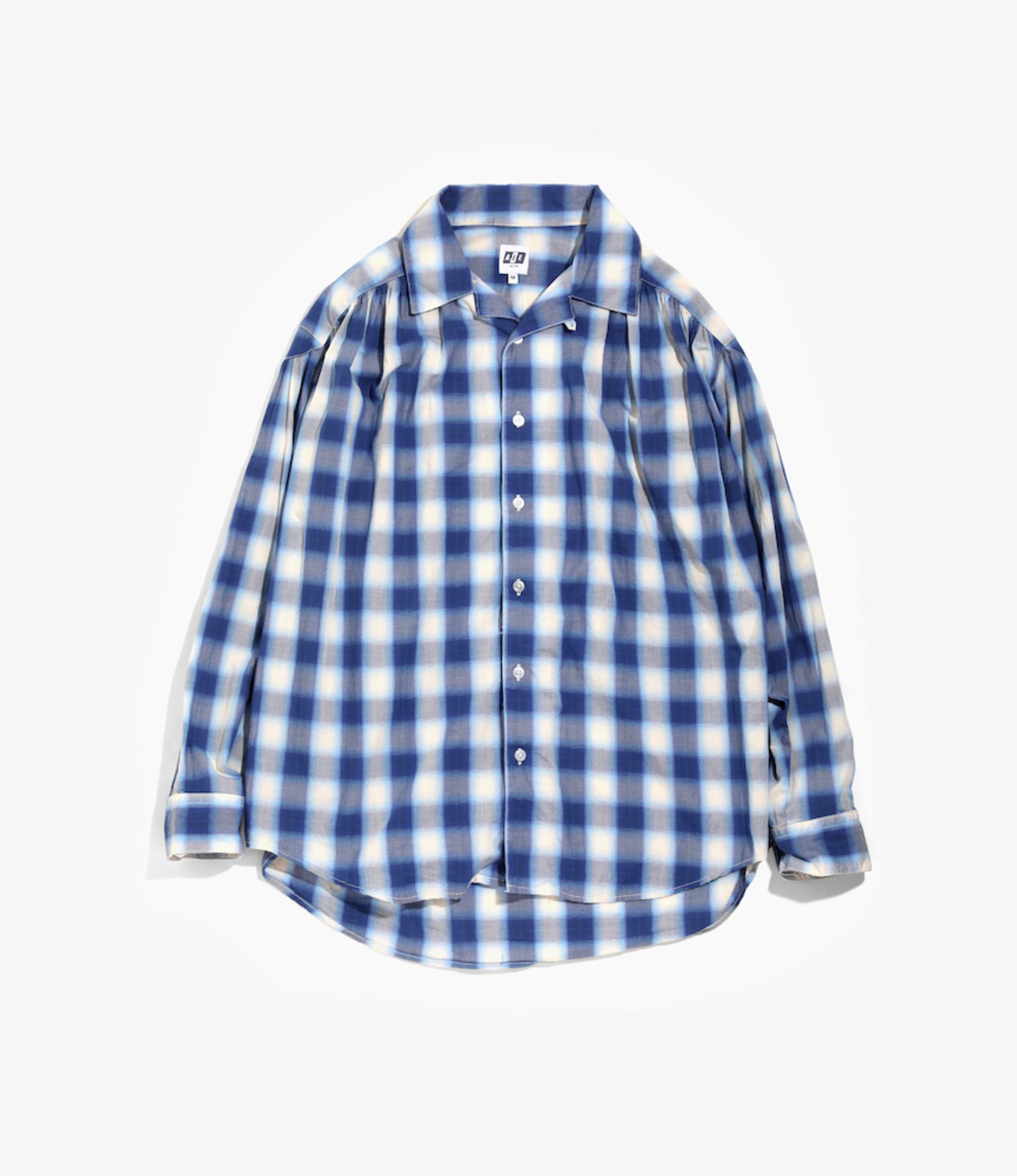 AïE Painter Shirt - Navy White Cotton Shadow Plaid