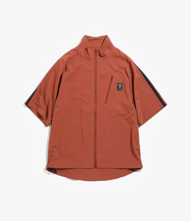 South2 West8 Side Line S/S Zipped Boulder Shirt - N/Pu Elastic Taffeta - Brick