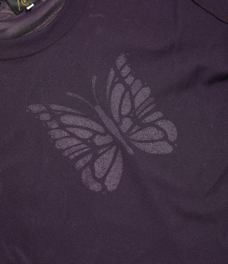 Needles L/S U Neck Tee - Poly Jersey / Papillon Print - Purple