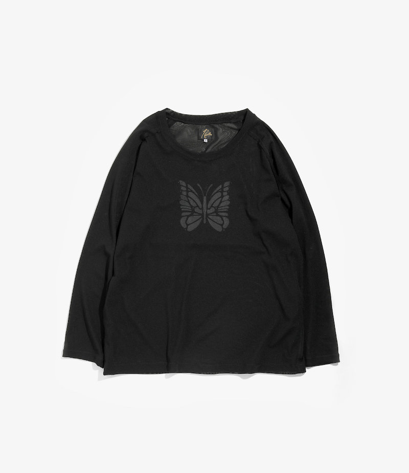 Needles L/S U Neck Tee - Poly Jersey / Papillon Print - Black