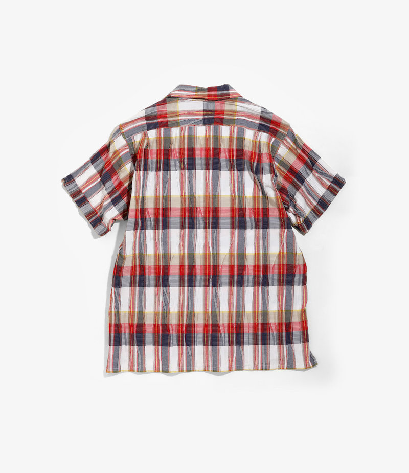 Engineered Garments Camp Shirt -  Red/White Cotton Crepe Check