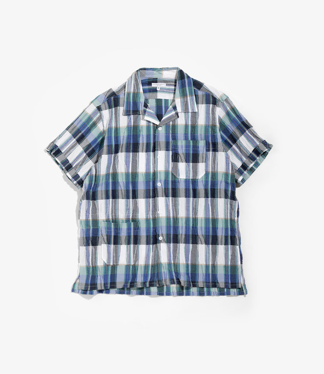 Engineered Garments Camp Shirt - Navy/Green Cotton Crepe Check