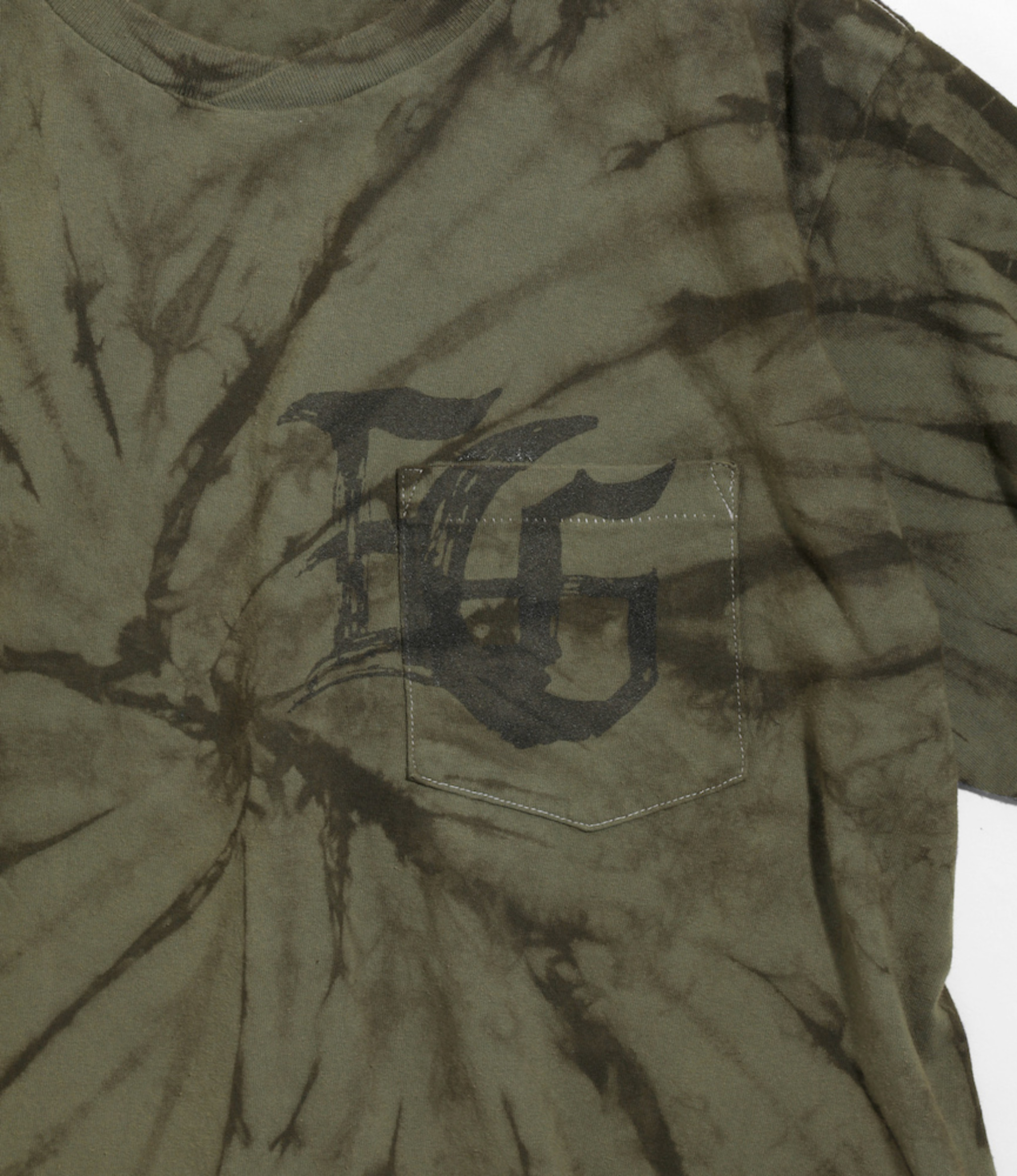 Engineered Garments Cross Crew Neck Tie Dye T - Olive SP