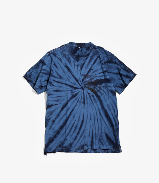 Engineered Garments Cross Crew Neck Tie Dye T - Navy SP