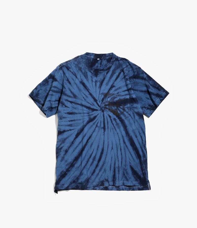 Engineered Garments Cross Crew Neck Tie Dye T - Navy SP