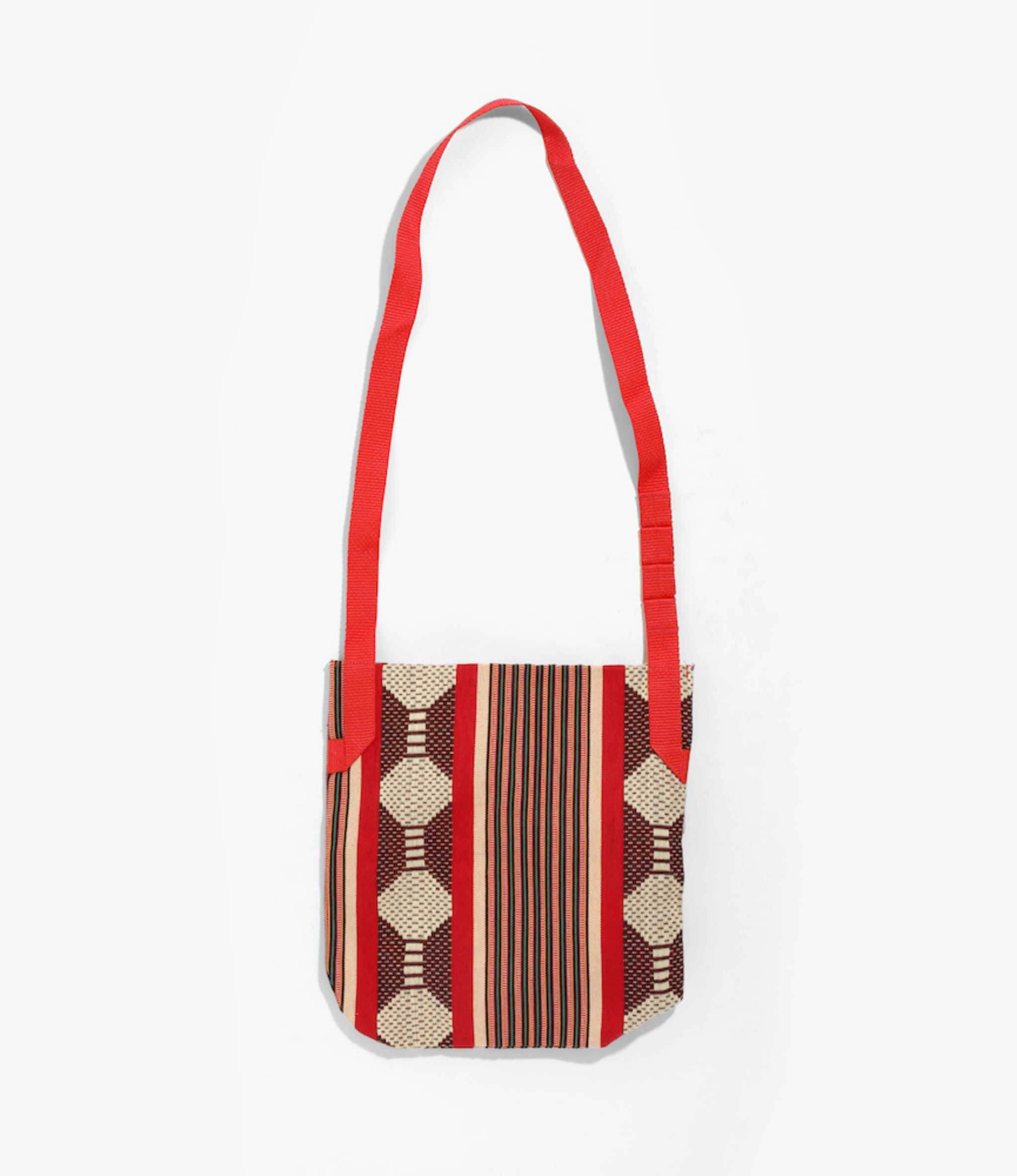 Engineered Garments Shoulder Pouch - Red Ethnic Jacquard Stripe