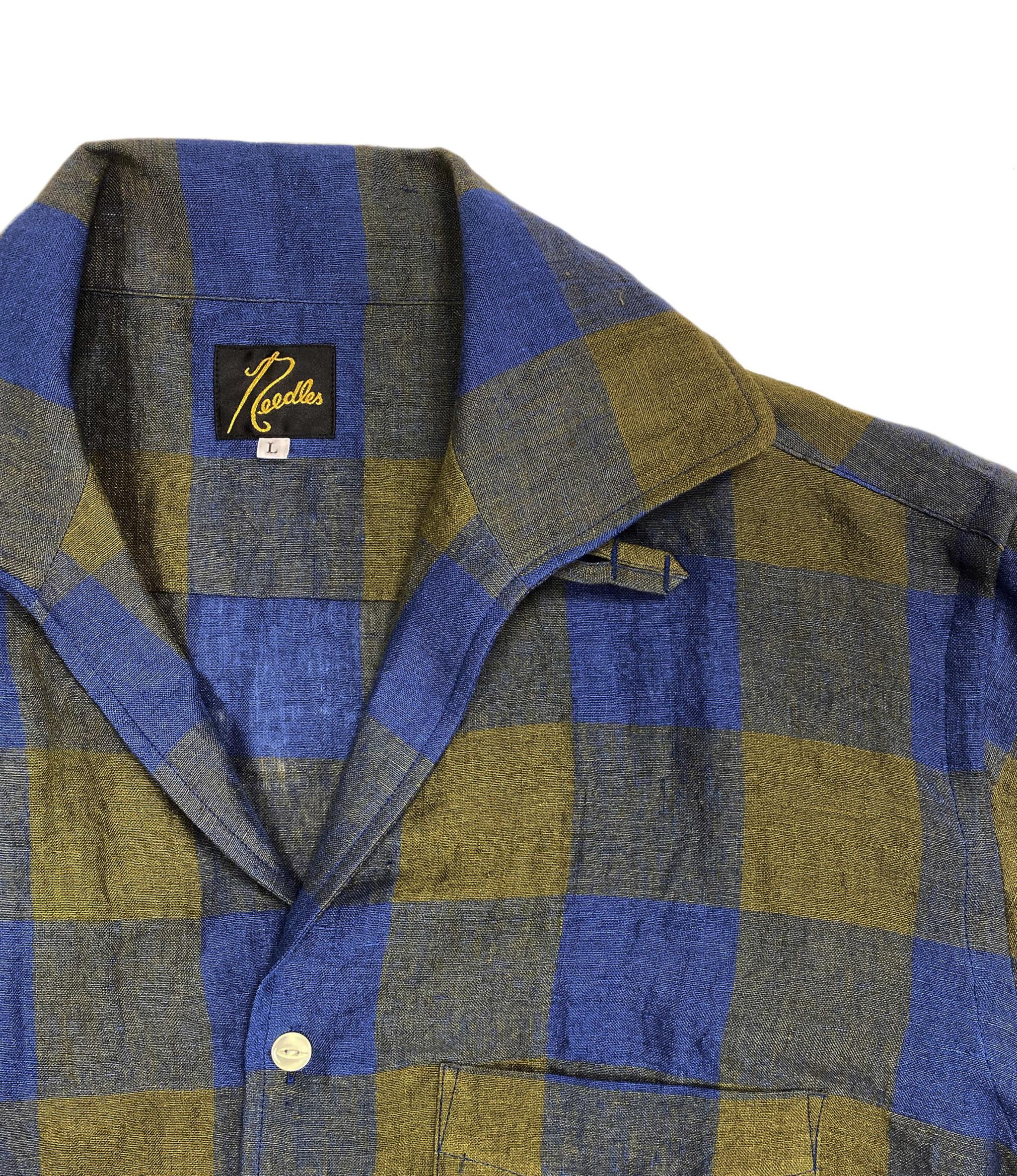 Needles Cut-Off Bottom Italian Collar Shirt - Linen/Gingham - Olive