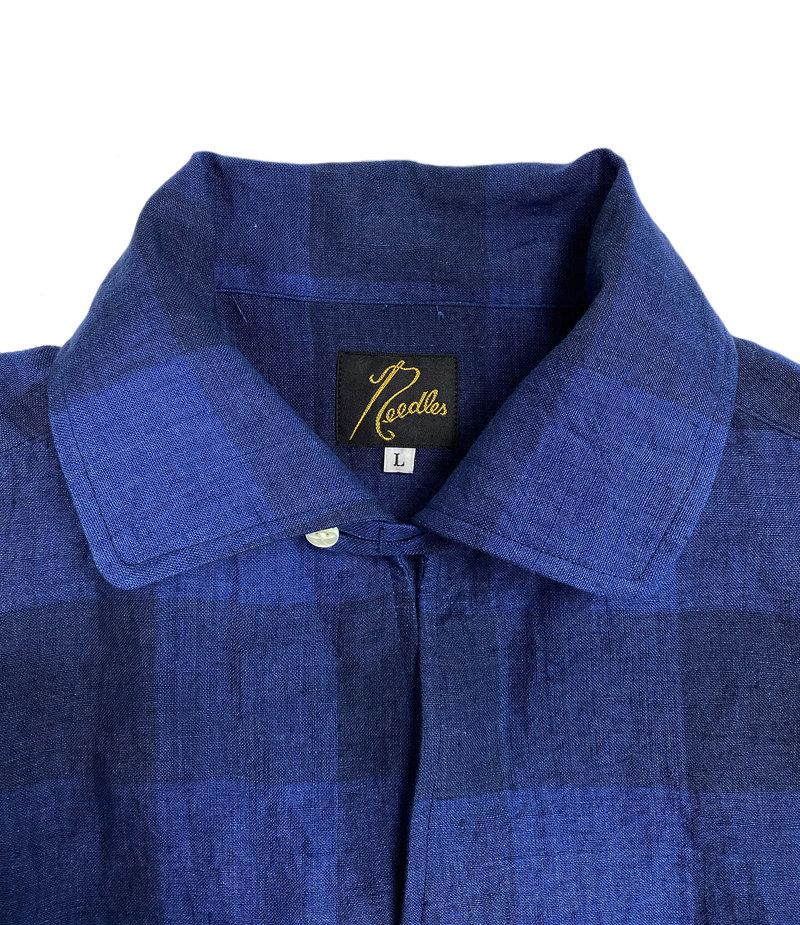 Needles Cut-Off Bottom Italian Collar Shirt - Linen Cloth / Gingham Plaid - Blue