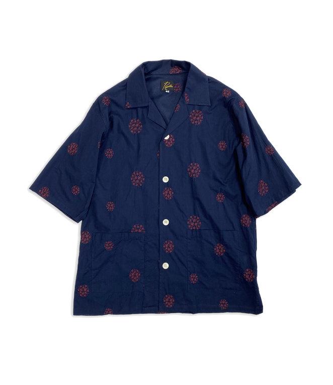 Needles Cabana Shirt - Cotton Cloth / Flower Dot Emb. - Navy