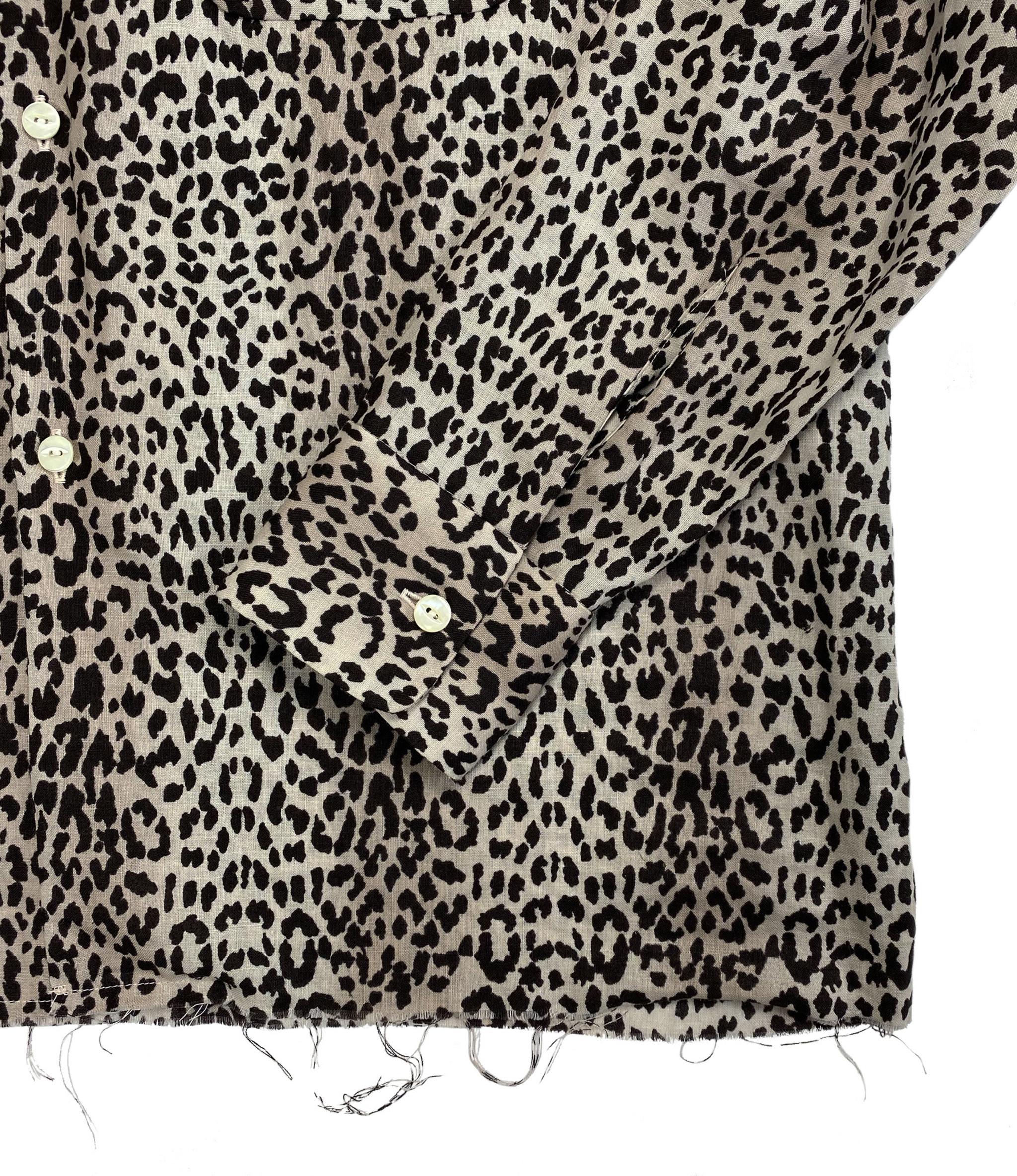 Needles Cut-Off Bottom Classic Shirt - Linen Cloth / Leopard Print - Off White
