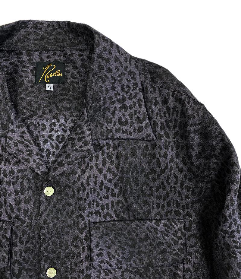 Needles Cut-Off Bottom Classic Shirt - Linen Cloth / Leopard Print - Grey